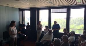 Giulia Gibertoni, capogruppo M5S in Regione, durante l'incontro con i rappresentanti del Comitato Sisma 12